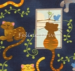 Fat Quarter - Cats & Birds - Navy