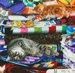 End of Bolt Piece - Cats on Quilts - Multi - 12