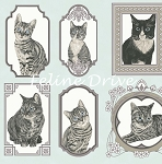 Fat Quarter - Cats The Way I Like It - Cat Blocks - Light Teal