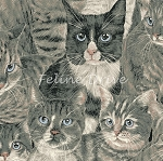 Fat Quarter - Cats The Way I Like It - Packed Cats - Grey