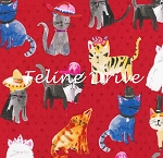End of Bolt Piece - Cats Wearing Hats - Red - 28