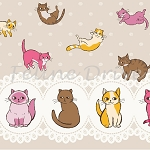 Caturday - Raining Cats - Lacy Border - Tan