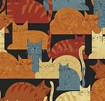End of Bolt Piece - Cheryl Haynes' Crafty Cats - Packed Cats - Blue - 24