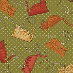 Fat Quarter - Cheryl Haynes' Crafty Cats - Cats on Dots - Green