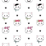 Chloe and Friends - Cat Faces - White