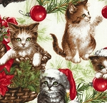 End of Bolt Piece - Christmas Cats - Cream - 13.5