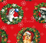 End of Bolt Piece - Christmas Pets - Holiday Cats in Wreaths - 12
