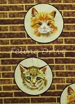 Fat Quarter - Circled Cats - Brick