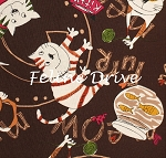 Fat Quarter - C is for Cat - Cat Play - Brown
