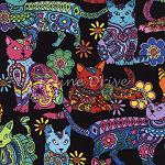 Fat Quarter - Color Me - Cats - Multi