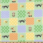 Flannel - Cat Blocks - Green