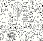 Fat Quarter - Cool Cats Allover - White