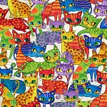 Fat Quarter - Cool Cats - Multi