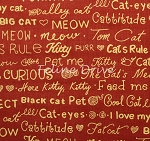 Fat Quarter - Cool Cats - Cat Words - Red