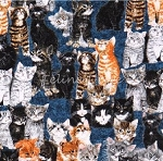 Fat Quarter - Counting Kittens - Blue