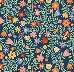 Fat Quarter - Crafty Cats - Floral - Blue