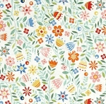 Fat Quarter - Crafty Cats - Floral - Cream
