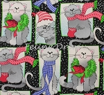 End of Bolt Piece - Christmas Cats - Black - 9