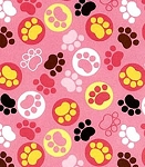 End of Bolt Piece - Flannel - Cuddle Baby Paw Prints - Pink - 26