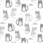 End of Bolt Piece - Flannel - Cuddly Kittens 2 - Kittens - Grey - 34