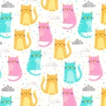 End of Bolt Piece - Flannel - Cuddly Kittens 2 - Kittens - Sorbet - 8