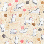 Fat Quarter - Flannel - Cuddly Kittens - Kittens & Yarn - Tan