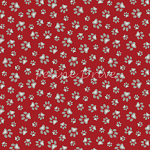 End of Bolt Piece - Curious Cats - Paw Prints - Red - 13.5