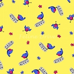 End of Bolt Piece - Day Dreamers - Birds - Yellow - 7.5