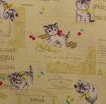Fat Quarter - Dear Little World - Kittens & Music - Yellow