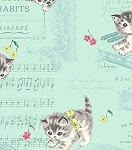 Fat Quarter - Dear Little World - Kittens & Music - Green