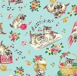 Fat Quarter - Dear Little World - Tossed Cats - Blue