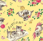 Fat Quarter - Dear Little World - Tossed Cats - Yellow