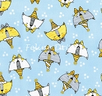 Fat Quarter - Doodle Pop - Birthday Cats - Blue