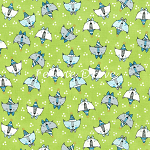 Fat Quarter - Doodle Pop - Birthday Cats - Green