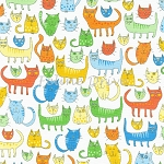 End of Bolt Piece - Doodle Pop - Cats - Primary - 22