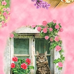 Fancy Felines - Cat Vignettes - Pink