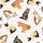 End of Bolt Piece - Fancy Felines - Tossed Cats - White - 9.5