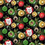 Fat Quarter - Fireside Kittens - Kitten Ornaments - Black