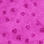 End of Bolt Piece - Flannel - Paws on Dots - Pink - 26