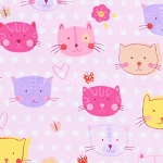 End of Bolt Piece - Flannel - Cat Faces - Pink - 19