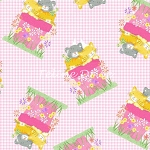 Fat Quarter - Flannel - Cats in Flower Pots - Pink