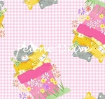Flannel - Cats in Flower Pots - Pink