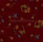 Flannel - Folk Art Flannel - Cat Toss - Red