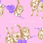 Flannel - Kittens & Yarn - Pink