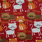 End of Bolt Piece - Flannel - Meow - Red - 29