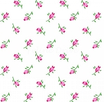 End of Bolt Piece - Flannel - Pink Rosebuds - White - 11