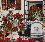 Front Porch - Cats & Geraniums