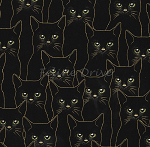 Fat Quarter - Full Moon - Cats - Black/Gold