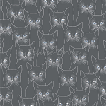 Fat Quarter - Full Moon - Cats - Charcoal/Silver