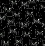 Fat Quarter - Full Moon - Cats - Onyx/Silver